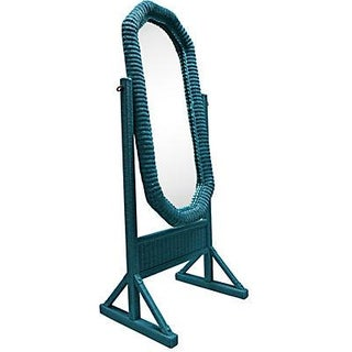 Aqua Wicker Free Standing Mirror For Sale