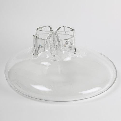 """Low-slung, hand-blown """"Quatto Fori"""" (four hole) glass vase with clover-shaped neck and opening, by Flavio Barbini for..."""