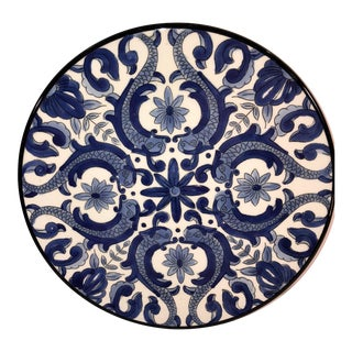 Vintage Spanish Ceraman Hand Painted Blue and White Decorative Plate For Sale