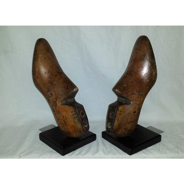 Industrial Antique Wooden Shoe Form Bookends - A Pair For Sale - Image 3 of 9