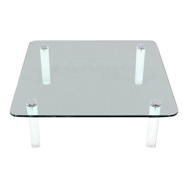 Mid-Century Modern Square Glass Top Coffee Table on Lucite Cylinder Legs For Sale