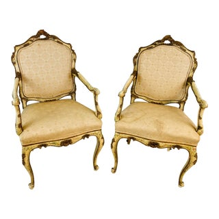 Hand Painted Antique Italian Chairs, a Pair For Sale