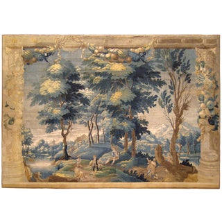 Antique 18th Century French Rustic Landscape Tapestry With Music and Dancing For Sale