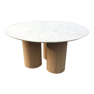 Oversized Pillar Marble Dining Table in White Oak