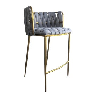 Modern Gray Velvet and Gold Milano Counter Stool For Sale