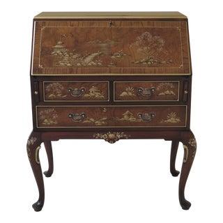 1990s Chinoiserie Hekman Decorated Slant Front Walnut & Mahogany Secretary Desk For Sale