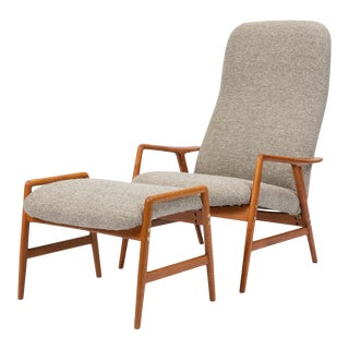 Lounge Chair and Ottoman by Alf Svensson for Dux For Sale