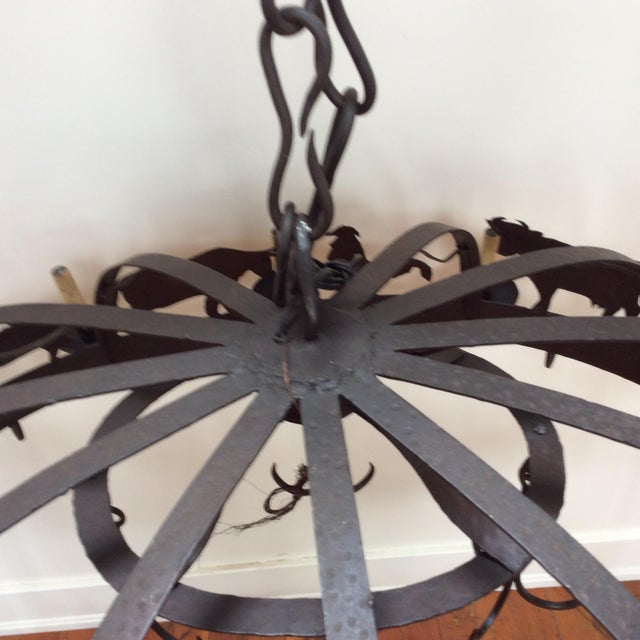 Large Iron Farm Animal Themed Pot Rack Chandelier For Sale - Image 9 of 10