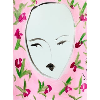 Face and Flowers Pink by Leslie Weaver For Sale
