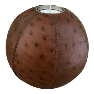 Ostrich Leather Clad Orb Votive Candleholder- For Sale