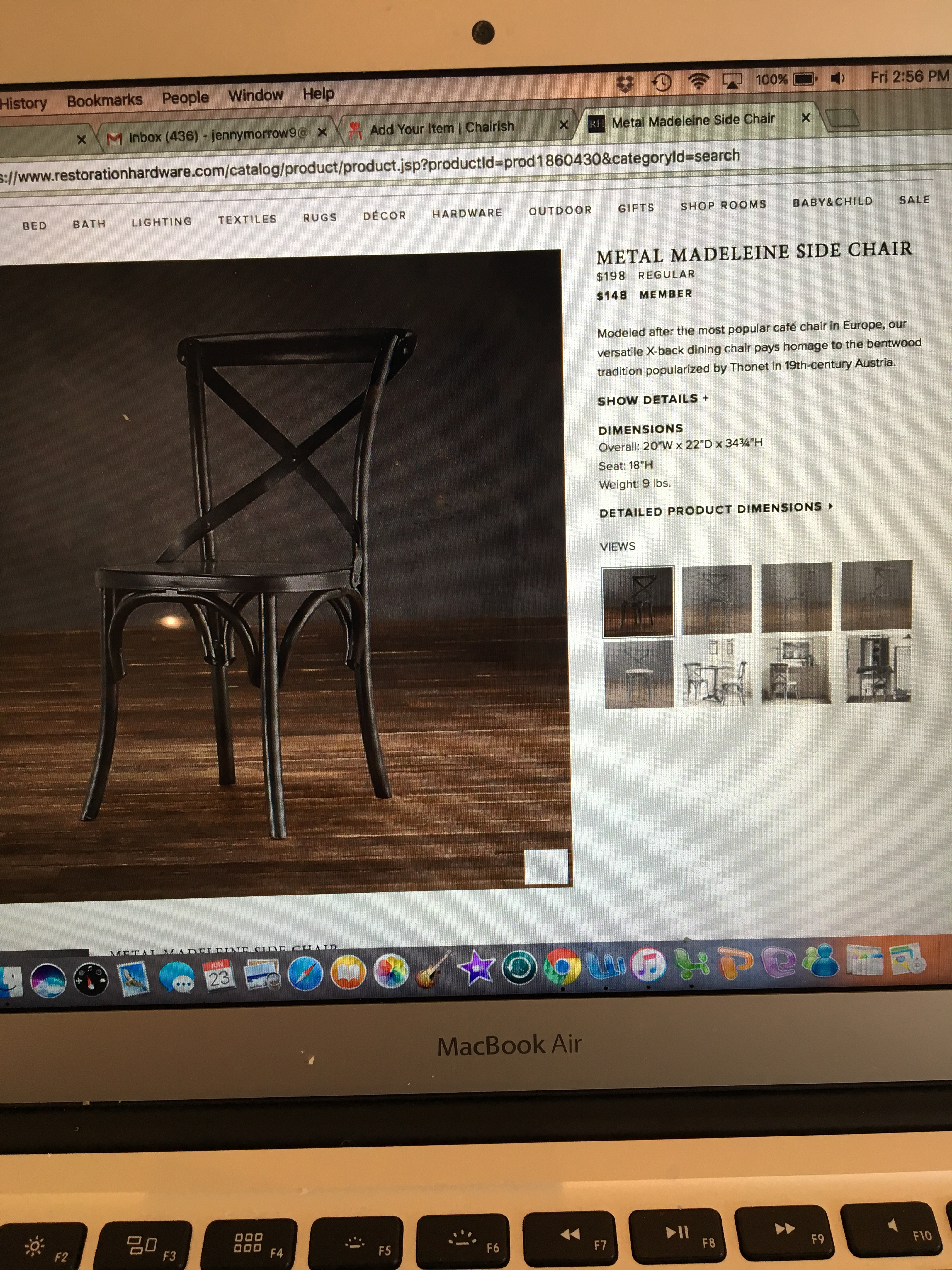 Restoration Hardware Metal Madeleine Dining Chairs   Set Of 6 For Sale    Image 5 Of