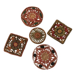 Boho Chic Style Woven Grass Trivets - Set of 5 For Sale