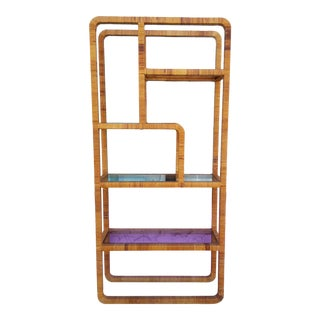Vintage Woven Wicker and Glass Etagere Shelf For Sale