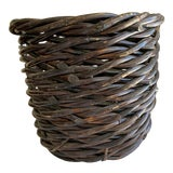 Image of Rustic Large Wood Woven Storage Basket For Sale