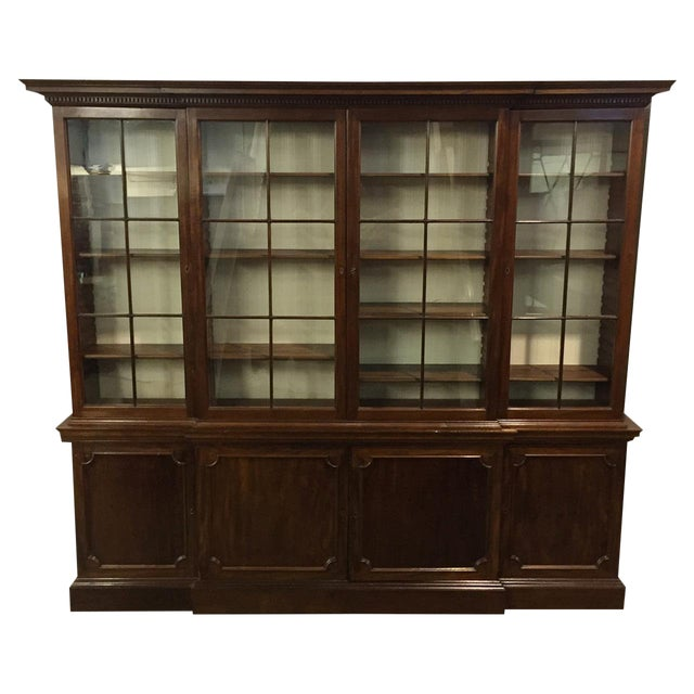 19th C. Vintage English Mahogany Breakfront For Sale