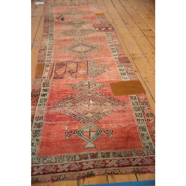 "Vintage Distressed Patchwork Oushak Rug Runner - 2'10"" X 10'7"" For Sale - Image 11 of 12"