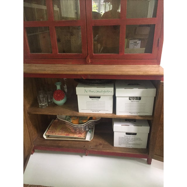 Red Farm Style 2 Piece Pine China Cabinet For Sale - Image 9 of 11