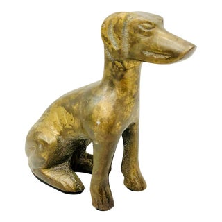 Vintage Gold Brass Dog Sculpture