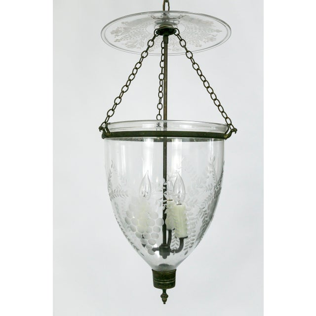 Georgian 19th Century Georgian Style Bell Jar With Etched Grapes For Sale - Image 3 of 8