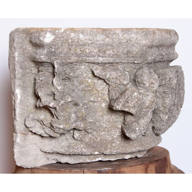 French Rare 16th Century Architectural Stone Capital From France For Sale - Image 3 of 10