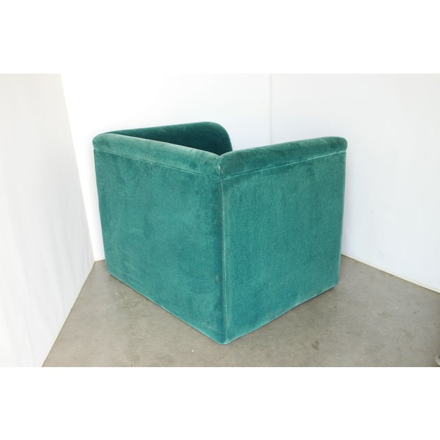 Green Vintage Blue- Green Mohair Club Chairs - a Pair For Sale - Image 8 of 12
