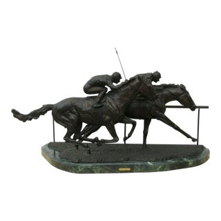 Sport of Kings by D Rene Rushing Horses Polo Solid Bronze Sculpture Statue For Sale