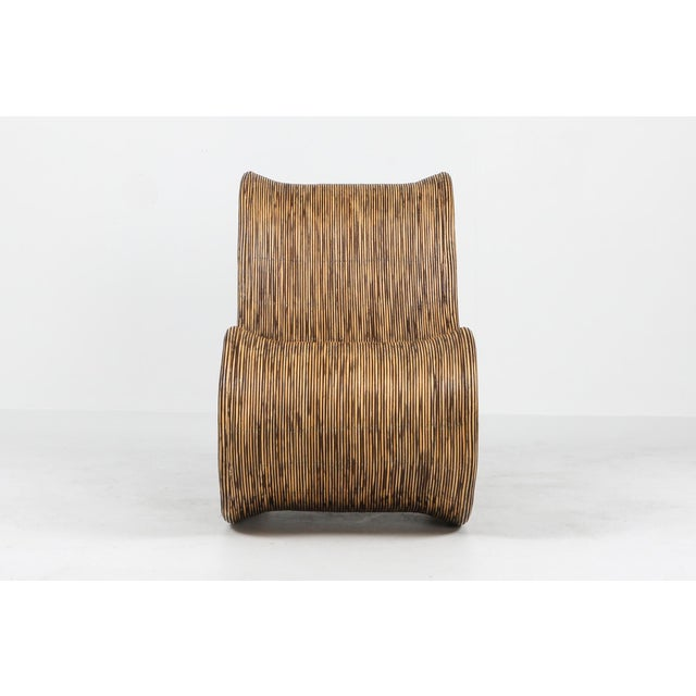 Wood 1980s Bamboo Rattan Lounge Chairs, Italy - a Pair For Sale - Image 7 of 13