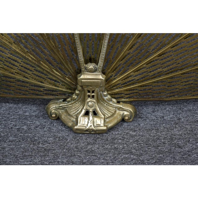 Vintage 1900's Victorian Peacock Brass Fireplace Screen Summer Cover For Sale - Image 10 of 12