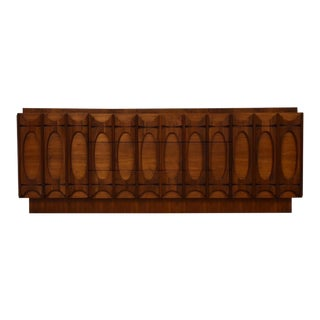 Brutalist Style Walnut Dresser For Sale