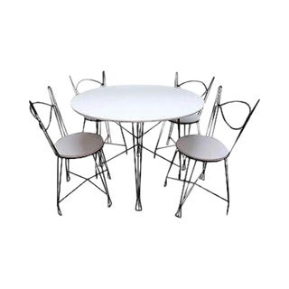 Iron Prairie School 5 Piece Bistro Parlor Dining Set (A) For Sale