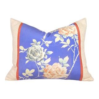 Coral Rose Garden Vintage Japanese Silk Kimono Pillow Cover