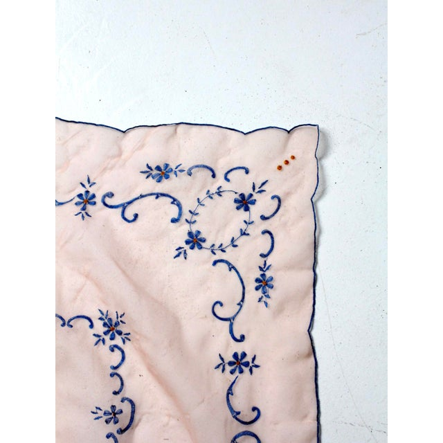 Shabby Chic Mid 20th Century Vintage Pink Table Cloth With Embroidery For Sale - Image 3 of 7