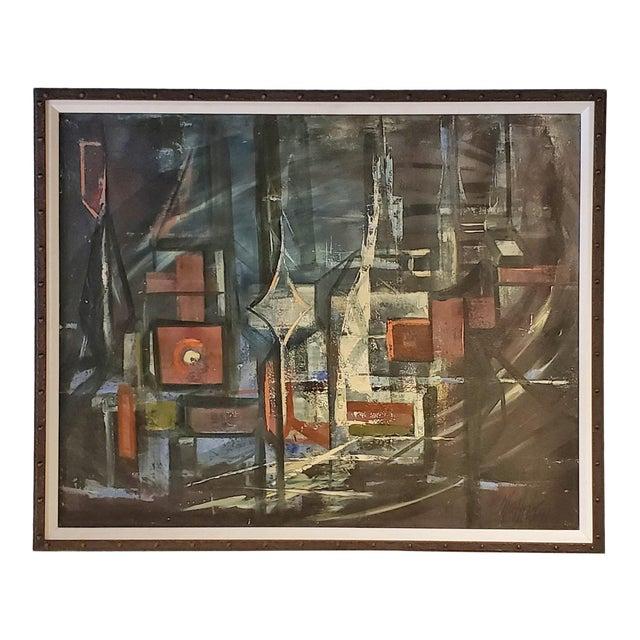 """Bridges"" Oil on Masonite Painting For Sale"