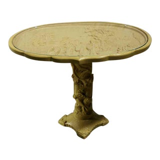 Asian Theme Composite Glass Top Side Table For Sale
