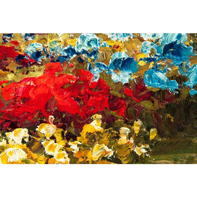 Mid 20th Century Mid-20th Century Floral Field Wood Framed Oil Painting For Sale - Image 5 of 13
