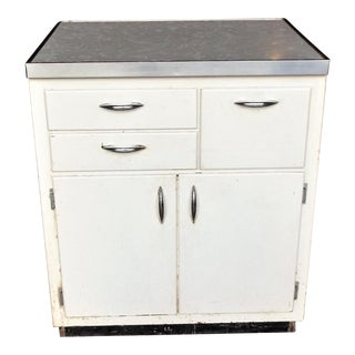 Early Farmhouse Formica Top White Wood Kitchen Cabinet For Sale
