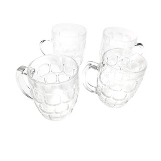 Vintage Glass Dimple Mugs - Set of 4
