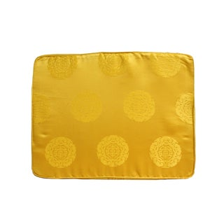 Chinese Oriental Golden Yellow Silk Fabric Rectangular Seat Cushion Pad For Sale