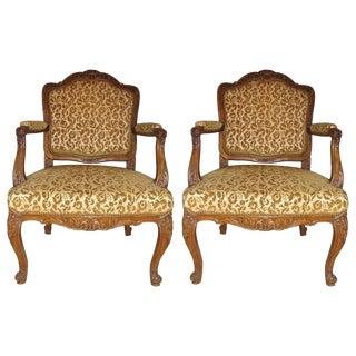 Pair of Rococo Craved Louis XV Style Armchairs For Sale