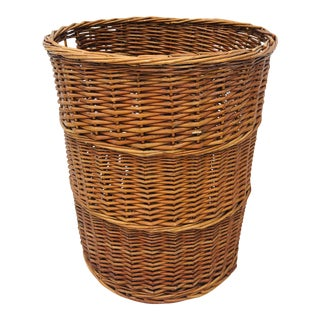 Antique Large Woven Wicker Basket For Sale