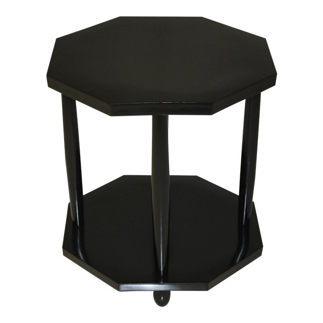 1940s French Art Deco Black Ebonized Coffee / Side Table For Sale