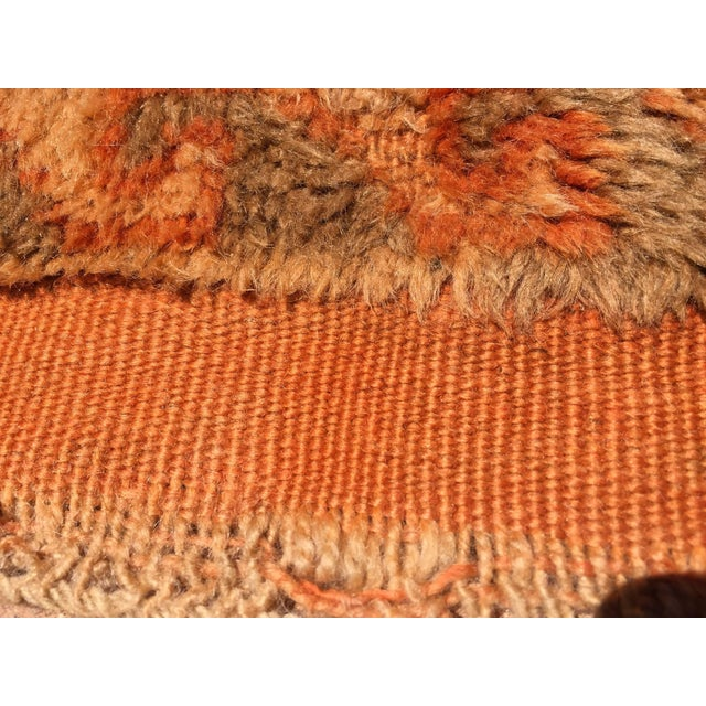 Vintage Mid Century Moroccan Orange Tribal African Pile Rug- 6′7″ × 16′5″ For Sale - Image 10 of 12