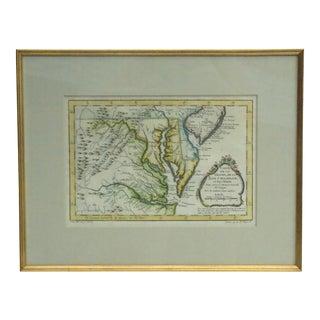 """""""Carte De La Virginia De La Chesapeake Bay"""" 1757 Map For Sale"""