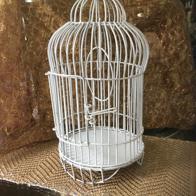 1950s Mid-Century White Bird Cage For Sale - Image 5 of 8