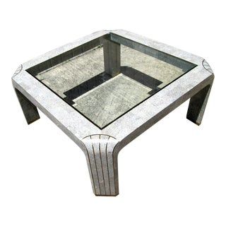 Vintage Faux Stone Glass and Brass Coffee Table For Sale