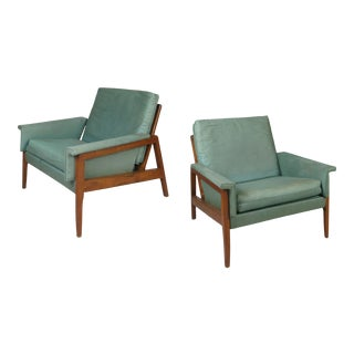 1950s Walnut Lounge Chairs - a Pair For Sale