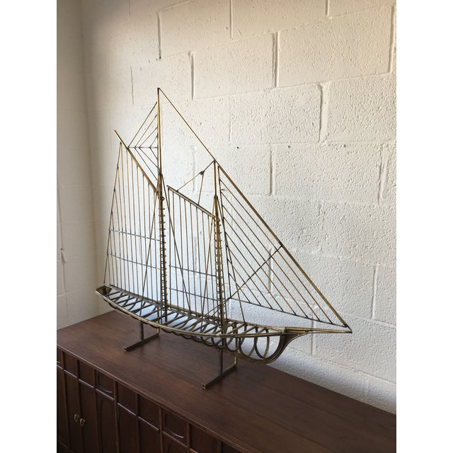 Monumental brass schooner table or wall sculpture by C. Jere'. Signed 1976. May be cleaned to brilliant brass, but current...