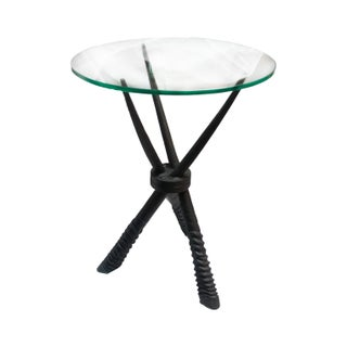 Black Horned Side Table with Glass Top