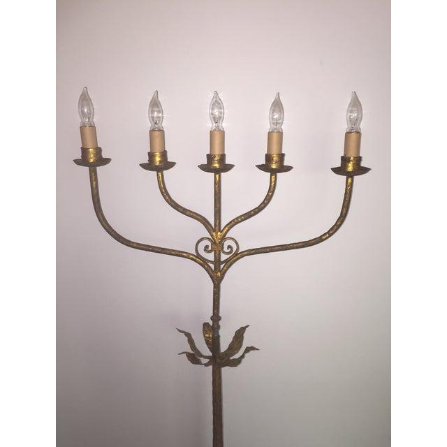 Hollywood Regency Vintage Gold Gilt Metal Candelabra Five-Light Floor Lamp For Sale - Image 3 of 11