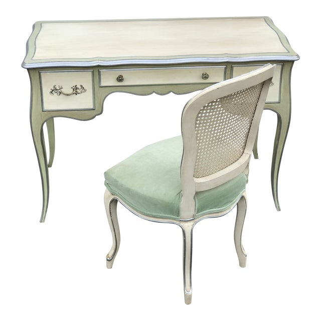 John Widdicomb Mid-Century French Ladies Writing Desk and Chair For Sale